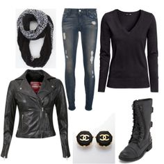 #Barneys leather jacket & Chanel earrings in this edgy cool entry in the Winter Is Coming fashion contest
