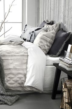 Perfectly cozy cable knit #bedding - love the #gray tones! #winter #cableknit #grayandwhite