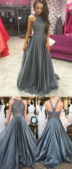 2018 Grey Rhinestone Beading Halter Chiffon Long Evening Prom Dresses, 17345