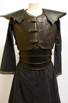 "Cordovan brown leather armour with celtic by BarbwireandRoses, via Etsy. Part of my ""Sword and Sorcery"" Treasury: http://www.etsy.com/treasury/Njc0NDA2NXwyNzIwODcyNTcx/sword-and-sorcery"