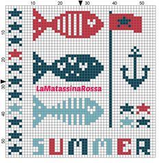 it's summer time! Cross Stitch Sea, Cross Stitch Charts, Cross Stitch Designs, Cross Stitch Patterns, Cross Stitching, Cross Stitch Embroidery, Hand Embroidery, Crochet Stitches Patterns, Beading Patterns
