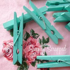 Turquoise Blue Clothes Pins Shabby Chic Home by SweetlyScrappedArt, $2.50