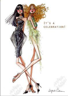 "Alfredo Cabrera Illustrator - Open Greeting Card - "" A Celebration "" - AC014 | eBay"