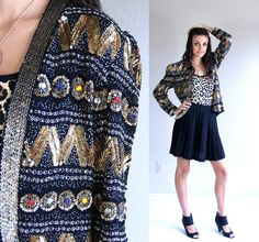 vtg 80s SEQUINS and GEMS beaded Statement by TigerlilyFrocks, $97.00