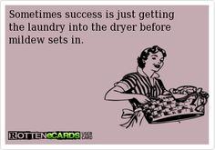 Sometimes success is just getting the laundry into the dryer before mildew sets in.