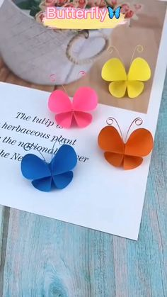 Paper Flowers Craft, Paper Crafts Origami, Paper Crafts For Kids, Origami Art, Diy Paper, Origami Butterfly, Butterfly Video, Diy Crafts Butterfly, Diy Butterfly Decorations