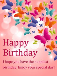 Wishing you a wonderful birthday filled with love joy and shining butterfly happy birthday card m4hsunfo
