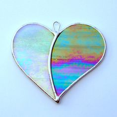 """Stained Glass ornament (Love Heart) """"When Two Hearts become One"""" opalescent iridescent glass"""
