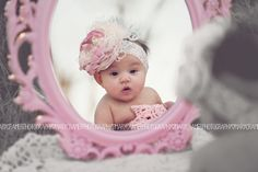 baby girl photo idea | four months old | baby and mirror pose | pink bows | oklahoma photographer | mary cramer photography