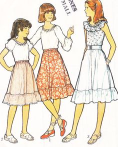 1980s Skirt Top Childs Sewing Pattern by SuesUpcyclednVintage,