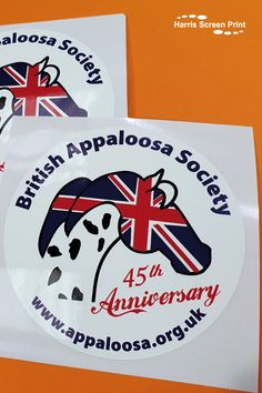 Self cling car window stickers printed for the British Appallosa Society. The cling window stickers cling to the inside of car windows, design facing outwards through the glass. The car window sticker design was created especially for their 45th Anniversary and incorporates the union jack flag within the design. Static cling car window stickers are great when you don't want any sticky residue after your stickers are removed, and they can be easily repositioned at any time. Car Window Stickers, Car Stickers, Jack Flag, Static Cling, 40th Anniversary, Rear Window, Union Jack, Custom Cars, Sticker Design