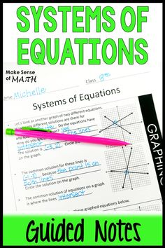Systems of Equations Guided Notes - Systems of Equations Notes Algebra Games, Math Games, Math Lesson Plans, Math Lessons, Seventh Grade Math, Simplifying Expressions, Systems Of Equations, Fun Math Activities, Math Education
