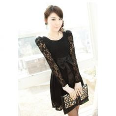 $11.25 Elegant Temperament Scoop Neck Bow Embellished Puff Sleeve Lace Dress For Women  For Court.