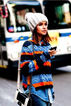 Fashion Editor Street Style: New York Fashion Week Fall 2012 . Would want a bright orange knit hat too!