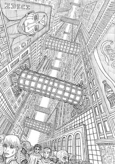 futuristic metropolis, ink on paper, 29 x 42 cm : Cyberpunk Perspective Drawing Lessons, Perspective Art, Cyberpunk City, Futuristic City, Landscape Drawings, Art Drawings, Arte Sci Fi, City Drawing, Architecture Concept Drawings