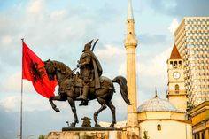 Skanderbeg monument in centre of Tirana