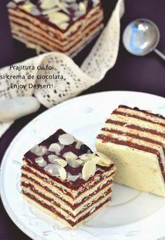 Sheet cake and chocolate cream Fudge Recipes, Sweets Recipes, No Bake Desserts, Just Desserts, Cake Recipes, Romanian Desserts, Romanian Food, Sweets Cake, Cupcake Cakes