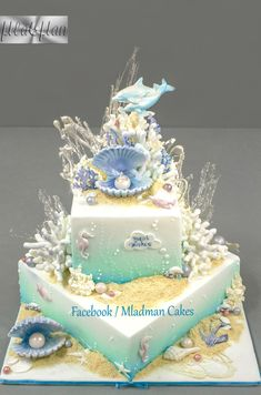 donut mug cake Gorgeous Cakes, Pretty Cakes, Cute Cakes, Amazing Cakes, Beach Themed Cakes, Beach Cakes, Mermaid Birthday Cakes, Mermaid Cakes, Crazy Cakes