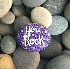hand painted rock / you rock / painted rocks / by HueofBlueStudio