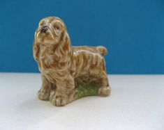 Wade Whimsie cocker spaniel; vintage, ceramic miniature, set 1 seventies, glazed