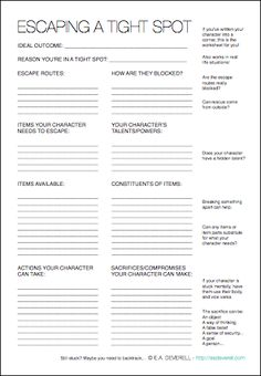 This writing worksheet will come to your character's rescue! :) > http://eadeverell.com/writing-worksheet-wednesday-escaping-tight-spot/?utm_content=bufferb56f2&utm_medium=social&utm_source=pinterest.com&utm_campaign=buffer