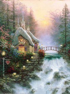 """Sweetheart Cottage II [1993] © Thomas Kinkade """"For the second work in my Sweetheart Cottages collection, I've conjured a vision of a perfect romantic hideaway. """"Falbrooke Thatch"""" is nestled right next to a charming little waterfall, with an arched footbridge leading from the front door over the falls. I've devoted """"Falbrooke Thatch"""" to Valentine's Day (note the 214 address just below the heart-shaped window) and to romance. In fact, I've hidden hearts throughout the painting."""""""