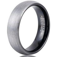 Sale! MNH Mens 6mm Comfort Fit Tungsten Carbide Wedding Band Black Brushed Matte Finish Rings Size 5-14