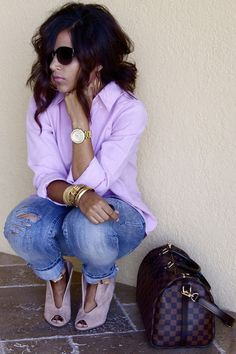 """Light Pink Ralph Lauren Tops, Light Pink Zigi Wedges   """"Fiercely Casual """" by TheChicestAmbry - Chictopia"""