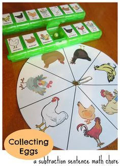"Kids practice making subtraction math sentences while ""collecting eggs!"" Free printable."