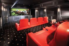 sports themed theater | Stunning Hot Home Theater Design with Contrasting Red and Black Color ...