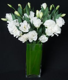 This is a floral arrangement that features white lisianthus.