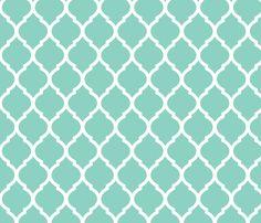 Aqua Moroccan Lattice fabric by jenniferstuartdesign on Spoonflower - custom fabric