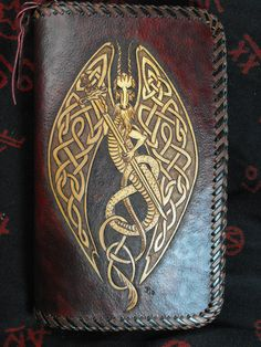 Hand Tooled Leather Celtic Dragon Day Planner.