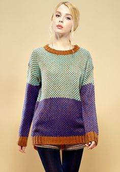 Multicolor Patchwork Print Round Neck Wool Blend Sweater