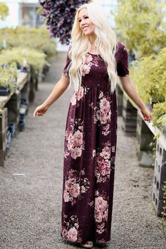 Miranda Modest Maxi Dress in Burgundy w/Blush Pink Floral Print Pink Floral Maxi Dress, Modest Maxi Dress, Modest Dresses Casual, Cute Maxi Dress, Modest Outfits, Modest Clothing, Peasant Dresses, Modest Wear, Maxi Dresses