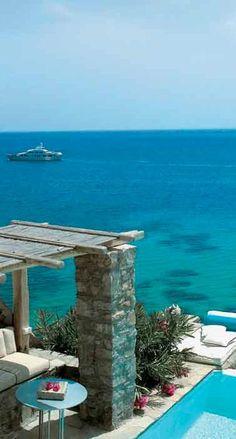 Mykonos Blu Luxury Hotel on Psarou Beach in Mykonos, Greece • photo: Mykonos Blu