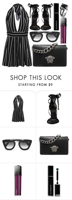 """""""street style"""" by sisaez ❤ liked on Polyvore featuring AX Paris, Schutz, Prada, Versace, L'Oréal Paris, Givenchy and West Coast Jewelry"""