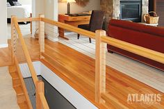 Atlantis Rail offers a complete line of stainless steel cable railing systems capable of fitting any indoor or outdoor, commercial or residential design. Cable Stair Railing, Cable Railing Systems, Wood Railing, Staircase Railings, Wood Stairs, Railing Design, Banisters, Stairways, Basement Stairs