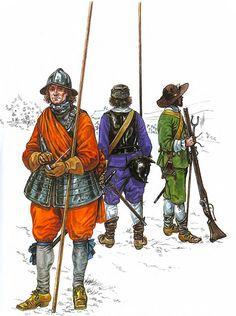 """""""The English Civil War 1642-1651""""  • Pikeman, Earl of Essex's Regt. 1642 • Pikeman, Lord Brooke's Regt. 1642 • Musketeer, Hampden's Regt. 1642"""