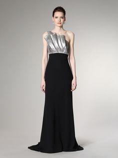 73% OFF Carmen Marc Valvo Women\'s Bias-Cut Gown (Silver/Black)