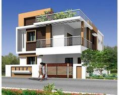 MODERN duplex house - by rakesh shastri Bungalow Haus Design, Duplex House Design, House Front Design, Modern House Design, Independent House, Front Elevation Designs, House Elevation, Villa Design, Beautiful Modern Homes