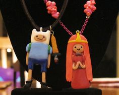 Adventure Time Bubblegum Princess and Finn the Human Couple's Necklaces
