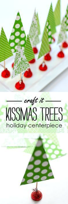 Holiday Craft Ideas. Hershey Kiss Christmas tree craft idea. Cute centerpiece or gift that is super easy and fun to DIY!