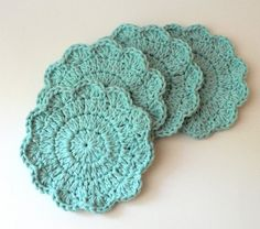 Scalloped Coasters  Robin's Egg Blue by BrooklinGirl on Etsy, $10.00