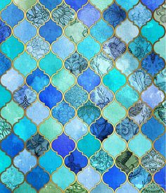 Cobalt Blue, Aqua & Gold Decorative Moroccan Tile Pattern