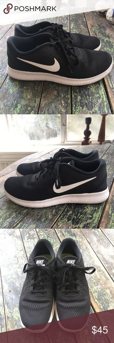 Nike Free RN Women's Running Shoe Nike Free RN women's running shoe, size 9.5, in black and white. Gently used but in great condition. No defects, but you can see from the inserts and the bottom that they do have some wear. Still look great though! Nike Shoes Athletic Shoes
