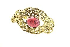 Victorian Style Gold Tone Filigree and Pink by ClassiqueStyle, $25.00