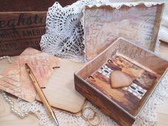 Wedding Vow Book Set  Rustic  Brown Shabby by TheMemoryKeeperShop