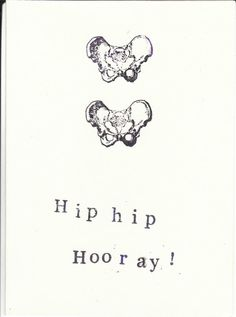 Funny Stamped Skeleton Science Anatomy Card Hip Hip by ModDessert, $2.00