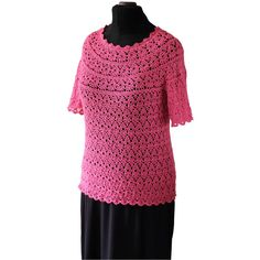 Crochet Blouse Pink Blouse Handmade Quick Shipping Worldwide 7-10... (315 PLN) via Polyvore featuring tops, blouses, pink, women's clothing, plus size cotton tops, plus size christmas tops, crochet lace top, plus size tops i christmas tops
